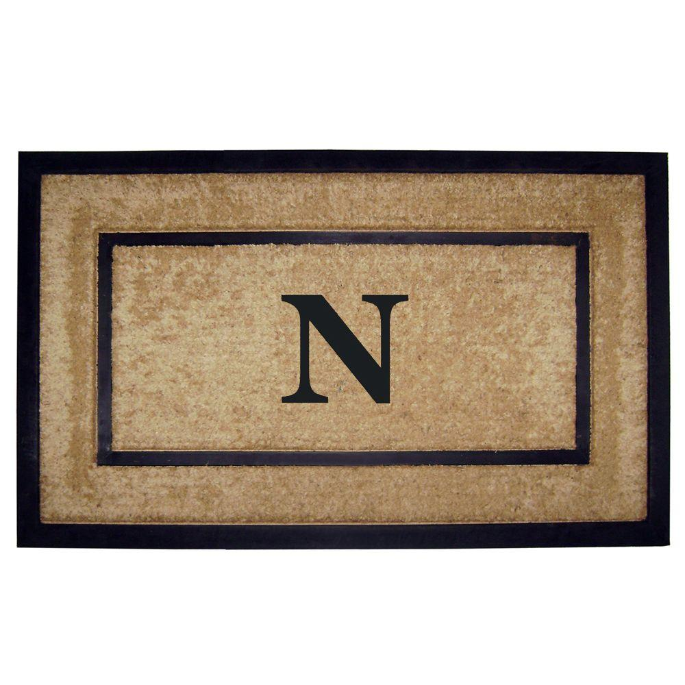 Nedia Home DirtBuster Single Picture Frame Black 22 in. x 36 in. Coir with Rubber Border Monogrammed N Door Mat