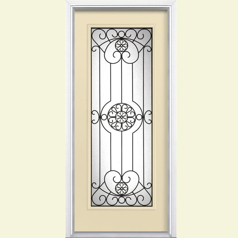 Masonite Santa Maria Full Lite Painted Smooth Fiberglass Prehung Front Door with Brickmold-DISCONTINUED