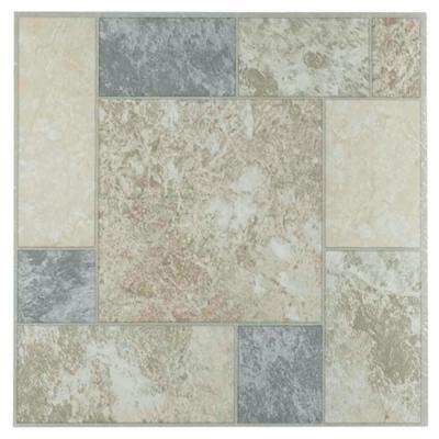Tivoli Marble 12 in. x 12 in. Peel and Stick Block Pattern Vinyl Tile (45 sq. ft. / case)