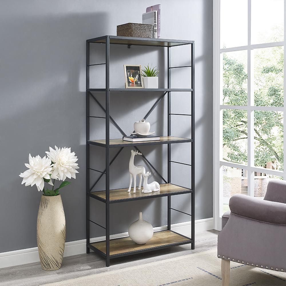 Walker Edison Furniture Company Rustic Oak Metal And Wood Media Bookshelf