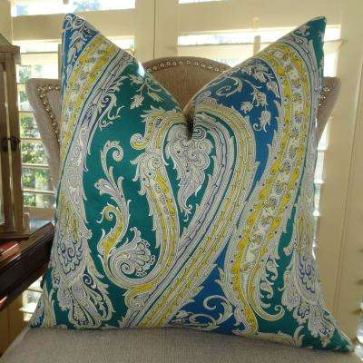 Fun Paisley 20 in. x 36 in. King Blue, Yellow and Green Hypoallergenic Down Alternative Double Sided Throw Pillow