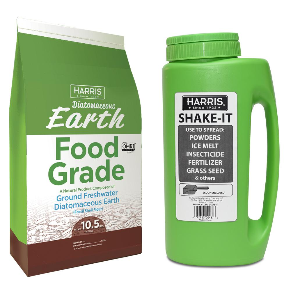 Harris 10.5 lbs. Diatomaceous Earth Food Grade 100% and Shaker Applicator Value Pack
