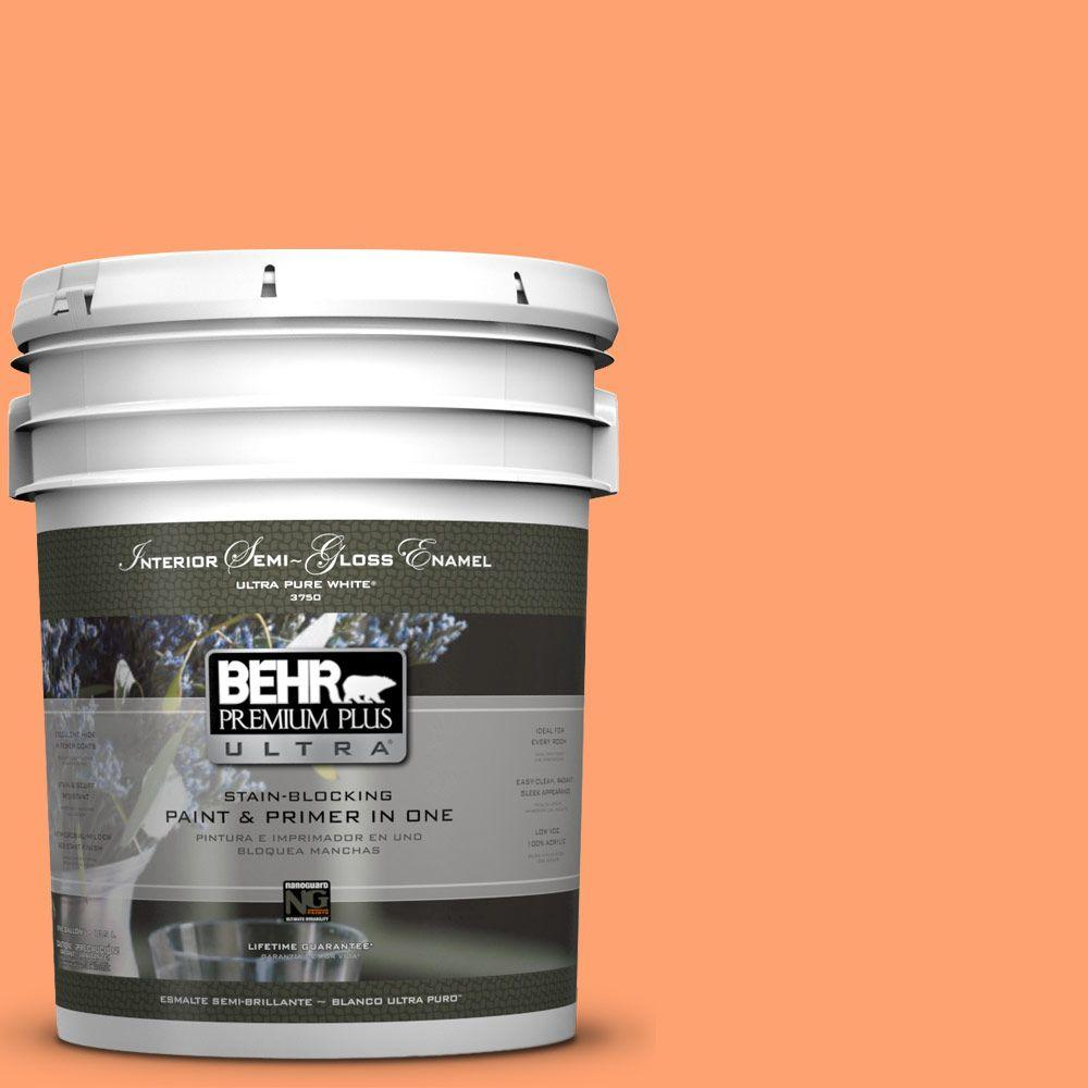 BEHR Premium Plus Ultra 5-gal. #P210-5 Cheerful Tangerine Semi-Gloss Enamel Interior Paint