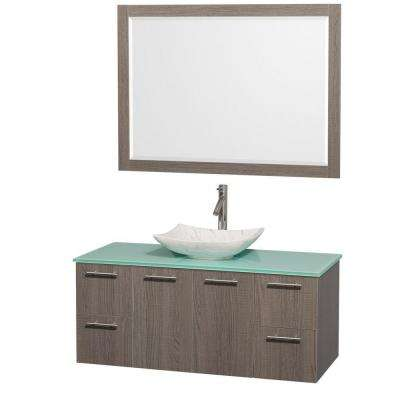 Amare 48 in. Vanity in Gray Oak with Glass Vanity Top in Green, Marble Sink and 46 in. Mirror