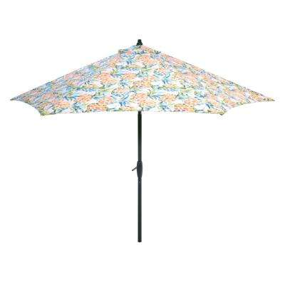 9 ft. Aluminum Market Tilt Patio Umbrella in Pineapples