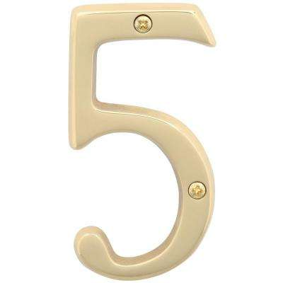 4 in. Bright Brass Classic House Number 5