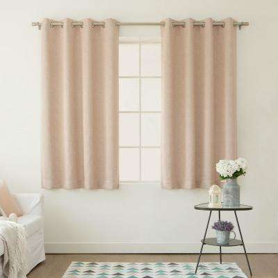 72 in. L Pink Linen Print Room Darkening Curtain Panel (2-Pack)
