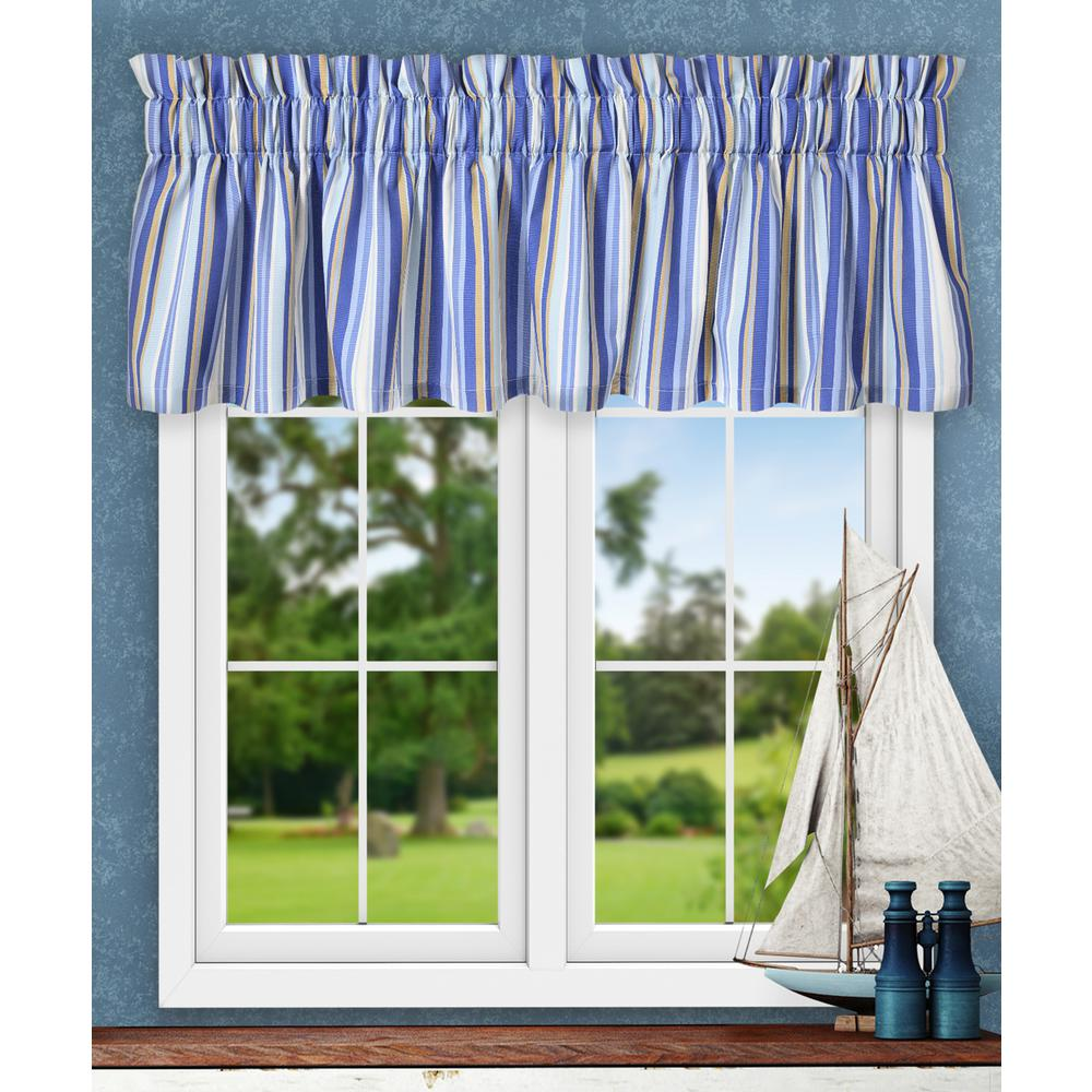 Mason Stripe 15 in. L Poly/Cotton Tailored Valance in Blue