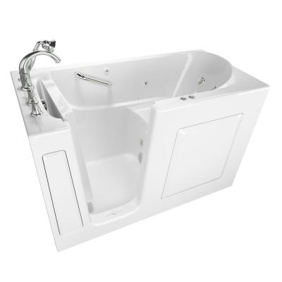 Exclusive Series 60 in. x 30 in. Left Hand Walk-In Whirlpool and Air Bath Tub with Quick Drain in White