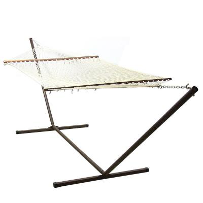 Double 12 ft. Free Standing 2-Person Spreader Bar Rope Hammock Bed with Stand