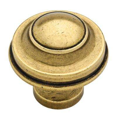 Country 1-7/16 in. (37mm) Bedford Brass Round Cabinet Knob