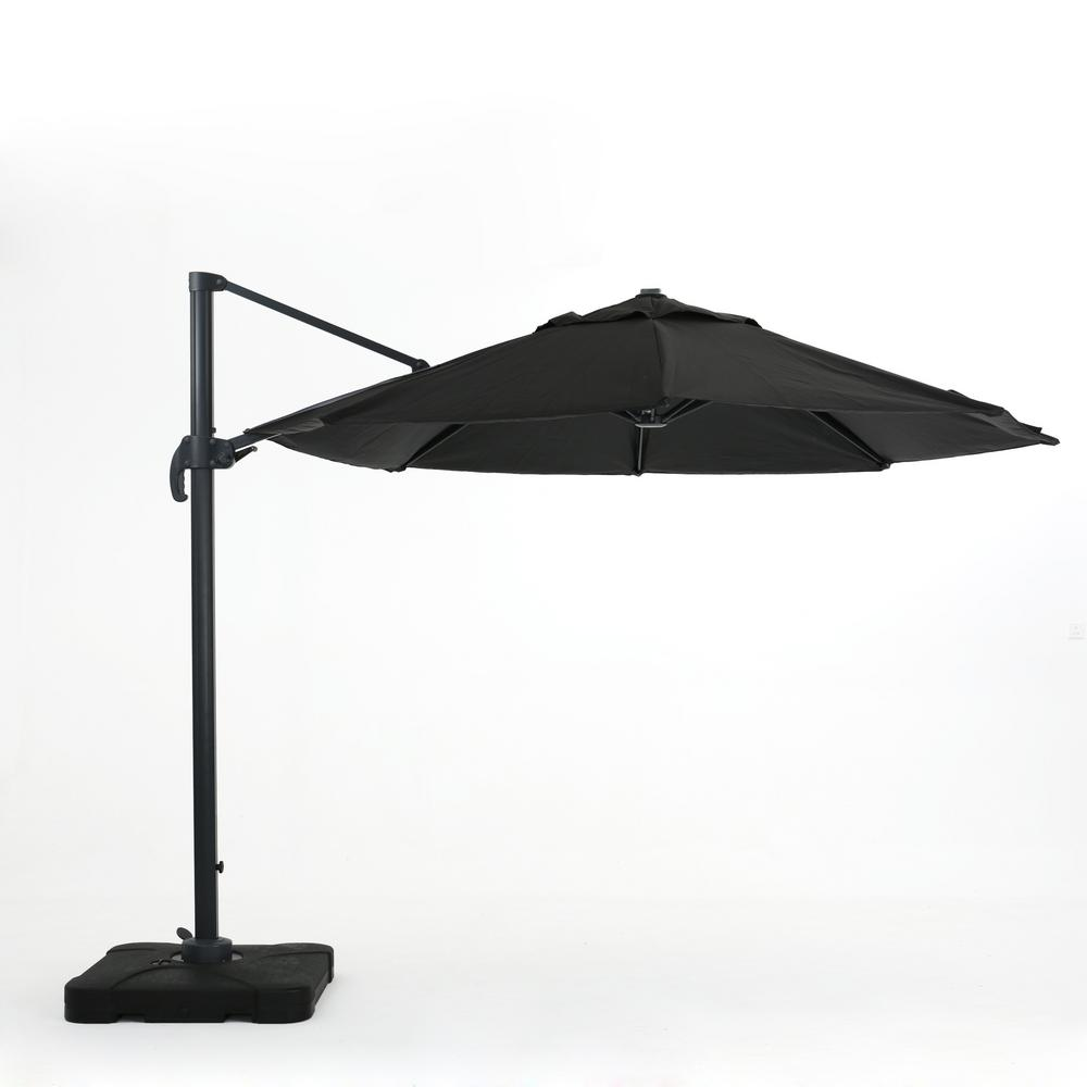 Noble House 9.83 ft. Aluminum Cantilever Tilt Patio Umbrella in Black