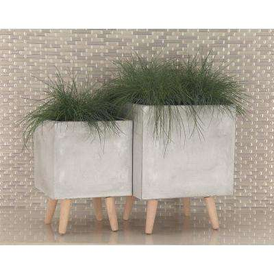 Large: 18 in., Small: 15 in. Gray Fiber Clay Wood Planters (2-Pack)