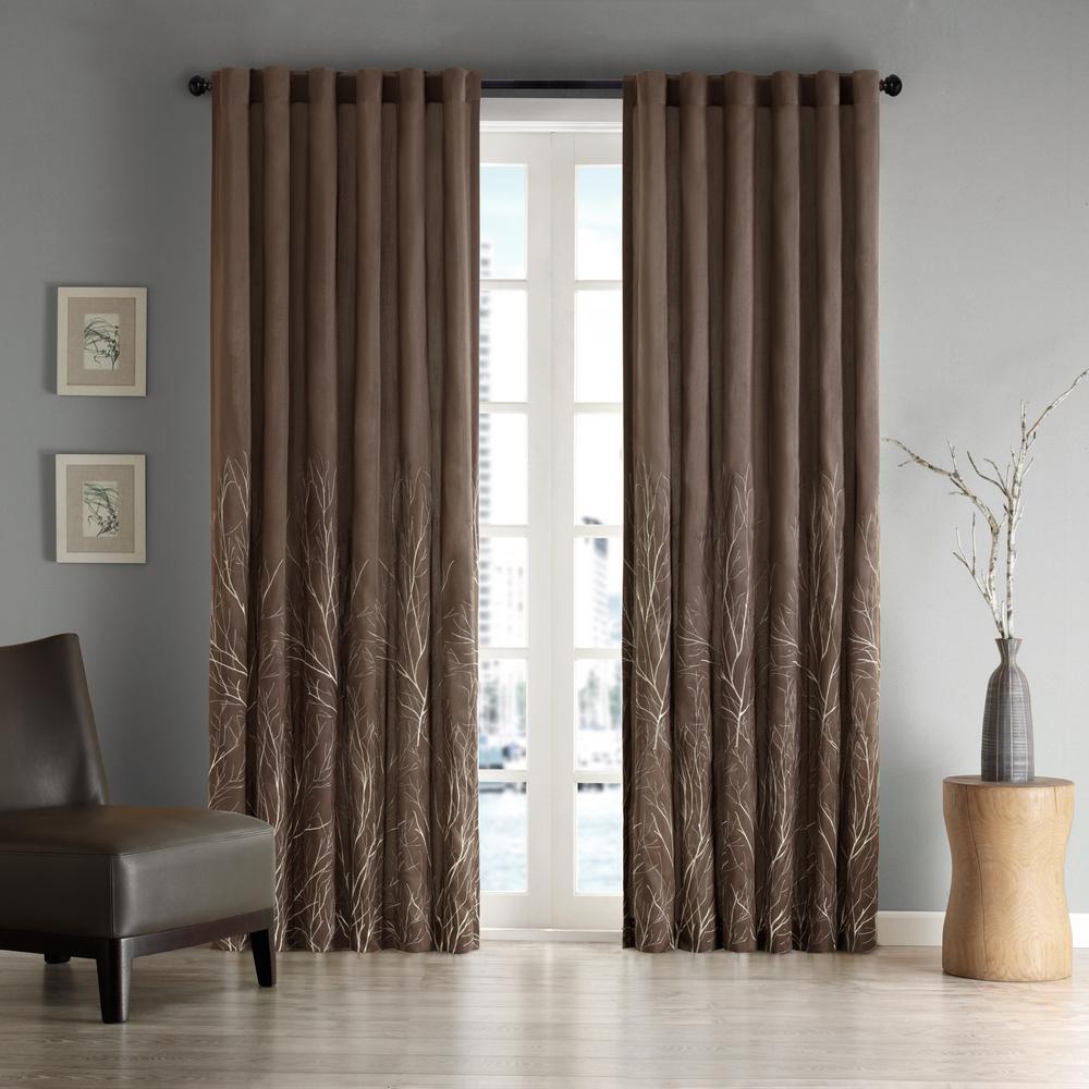 Eliza Chocolate 50 in. x 84 in. Window Curtain