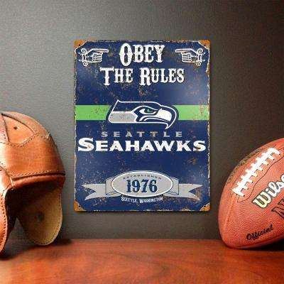 14.5 in. H x 11.5 in. D Heavy Duty Steel Seattle Seahawks Embossed Metal Sign Wall Art