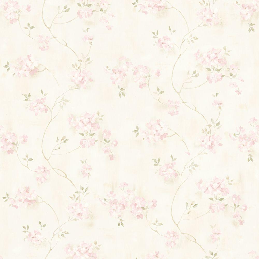 Chesapeake Rosemoor Pink Country Floral Wallpaper Sample