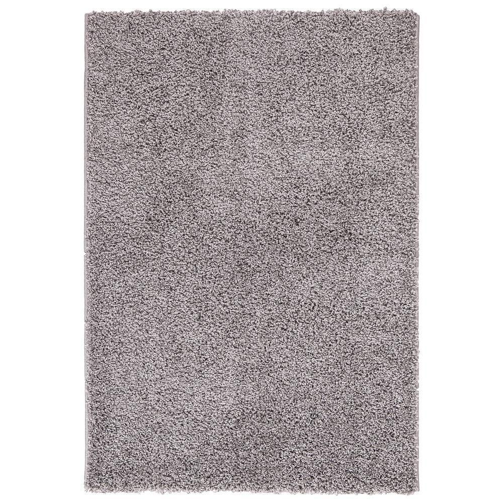 Plush Solid Shaggy Grey 3 ft. 3 in. x 4 ft.