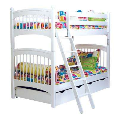 Windsor White Twin Bunk Bed with 2-Underbed Storage Drawers