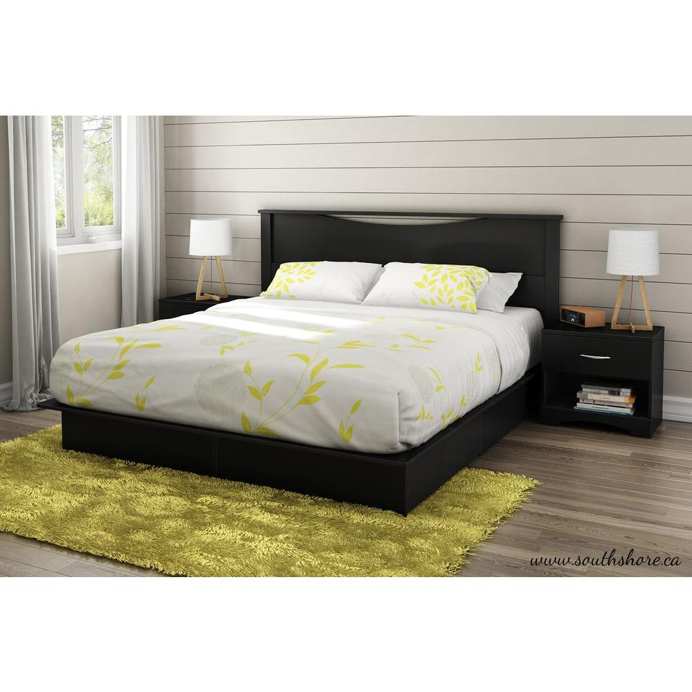 South Shore Step One King-Size Headboard in Pure Black