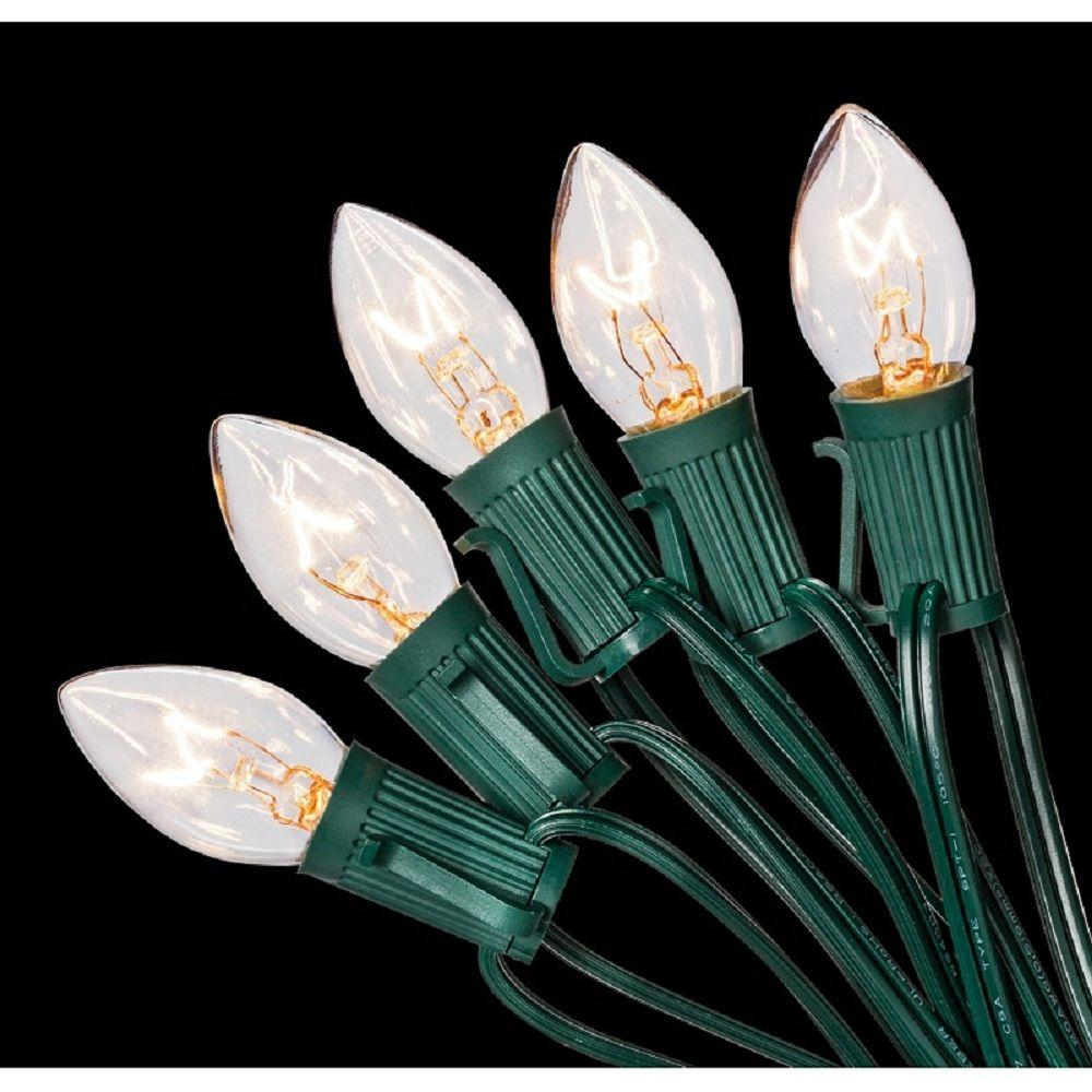 Home Accents Holiday C7 25-Light Clear Color Incandescent Light String