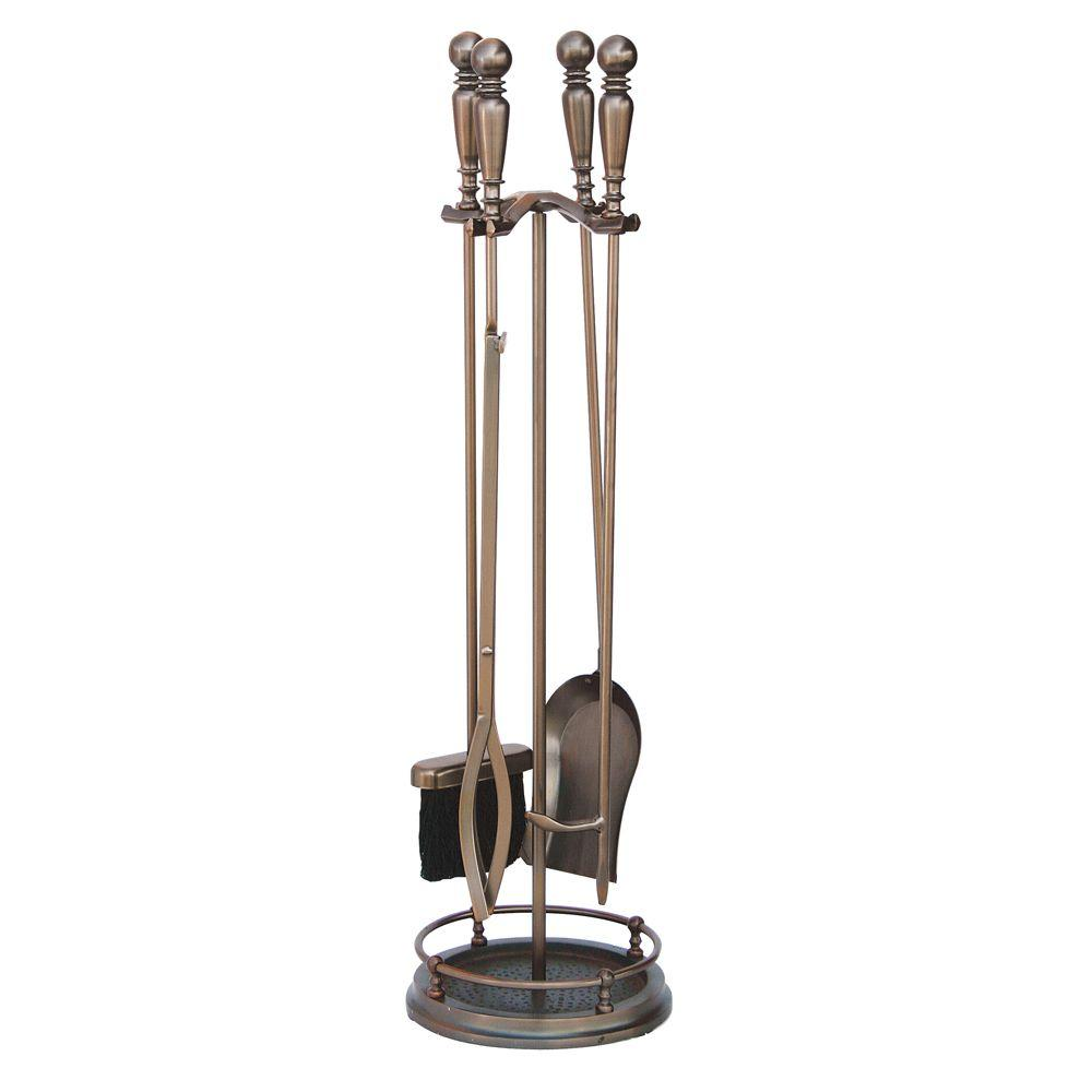 Uniflame Venetian Bronze 5 Piece Fireplace Tool Set With Ball Handles