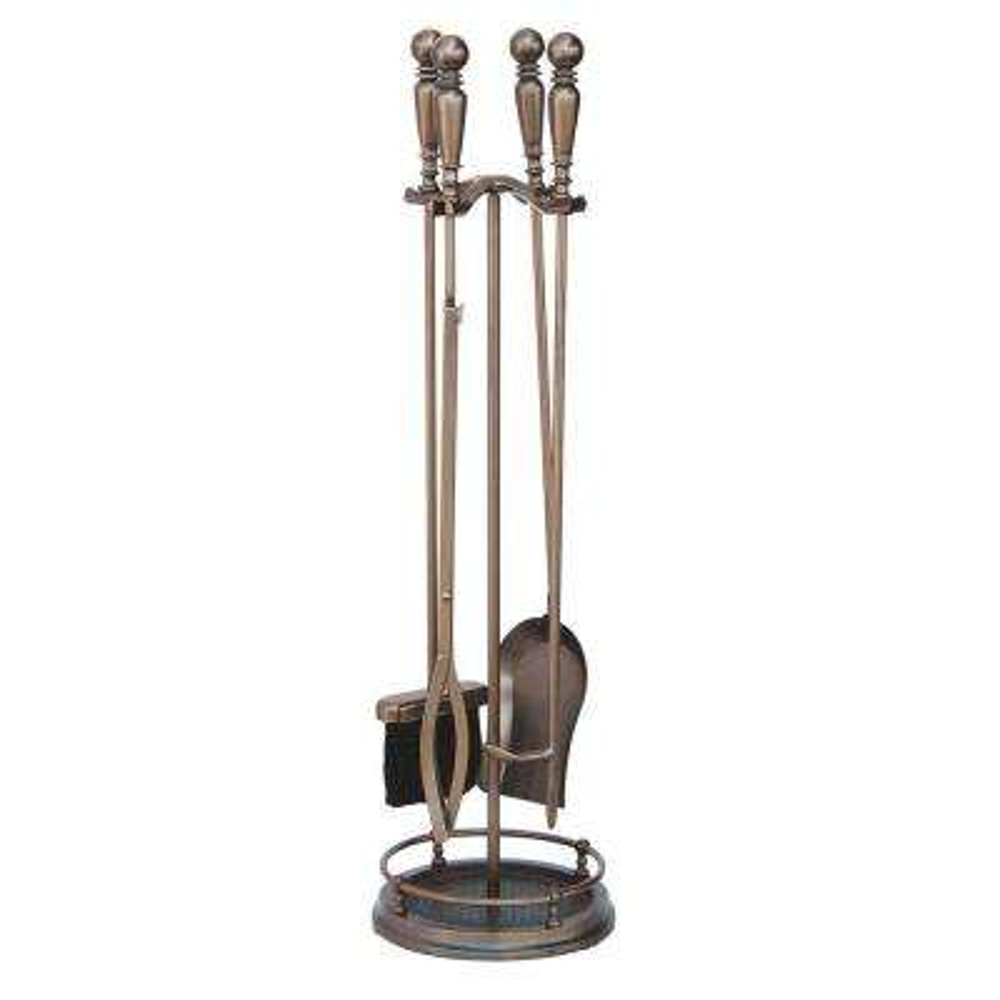 Venetian Bronze 5-Piece Fireplace Tool Set with Ball Handles