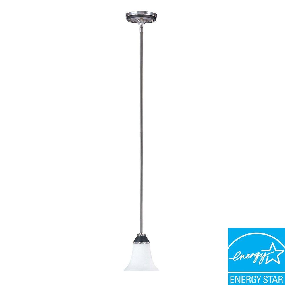 Glomar Keen 1-Light Nickel and Black Hanging Mini Pendant