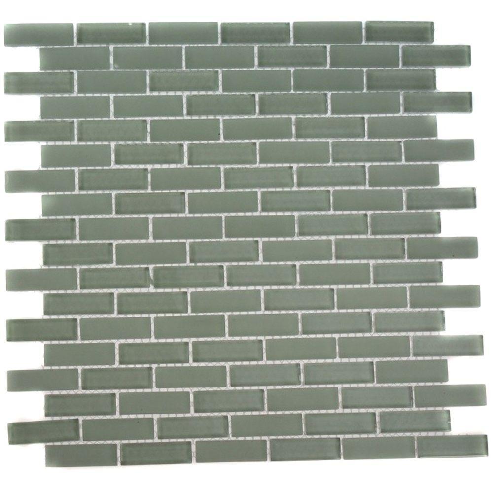 Splashback Tile Contempo Seafoam Brick 12 in. x 12 in. x ...