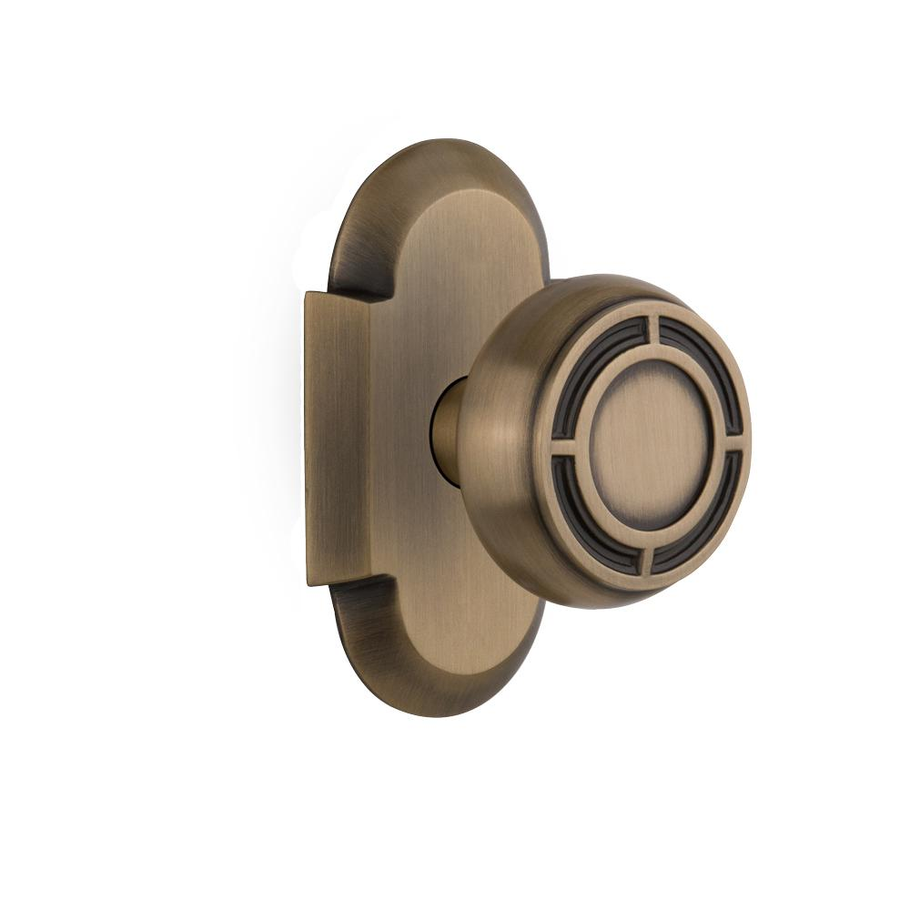 Cottage Plate Double Dummy Mission Door Knob in Antique Brass