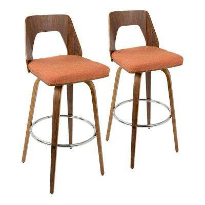 Trilogy 30 in. Bar Stool in Walnut and Orange Fabric (Set of 2)