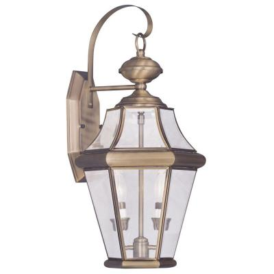 Georgetown 2 Light Antique Brass Outdoor Wall Sconce