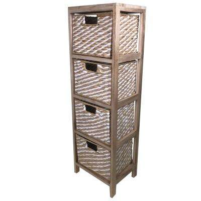 11.75 in. D  x 9.5 in. W x 38 in. H  Nutmeg Wood Cabinet with 4-Paper Rope Baskets