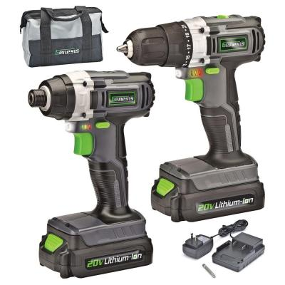 20-Volt Lithium-ion Cordless Variable Speed Drill Driver and Impact Driver with Storage Bag/Charger (2-Tool)