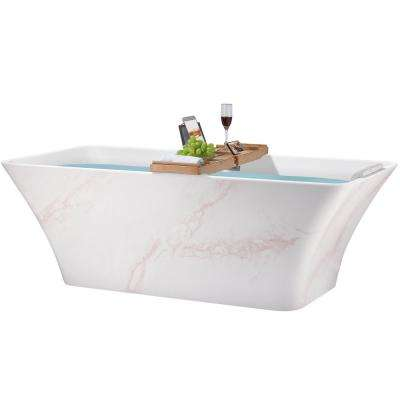59 in. Acrylic Center Drain Rectangular Double Ended Flatbottom Freestanding Bathtub in Glossy Red & White Marble