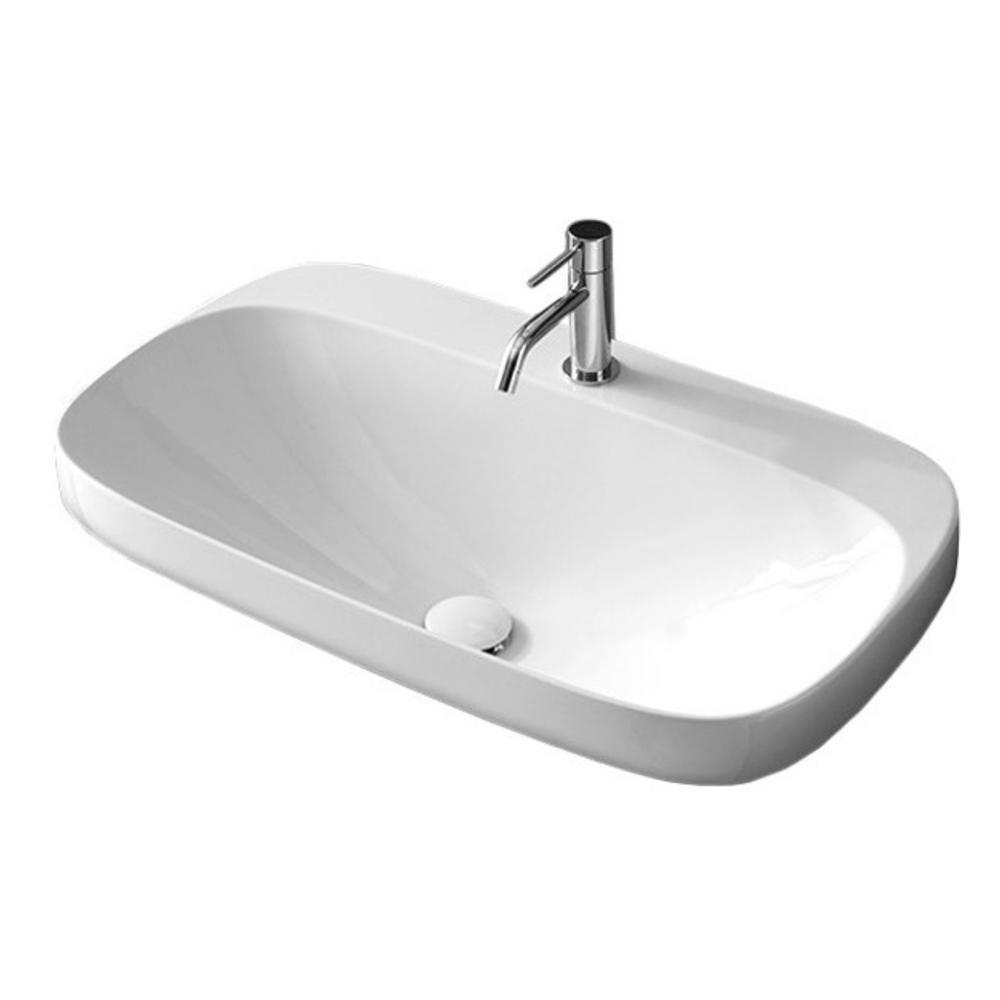 Nameeks Moon Drop-in Bathroom Sink in White