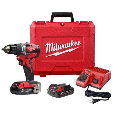 M18 18-Volt Lithium-Ion Brushless Cordless Compact 1/2 in. Drill/Driver Kit with 2 Batteries 2.0 Ah, Charger and Case