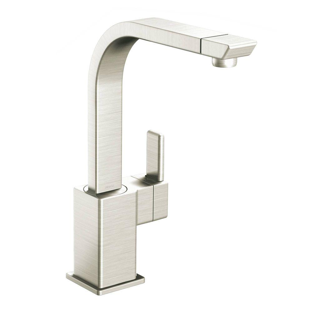 MOEN 90 Degree High-Arc Single-Handle Standard Kitchen Faucet in Classic Stainless
