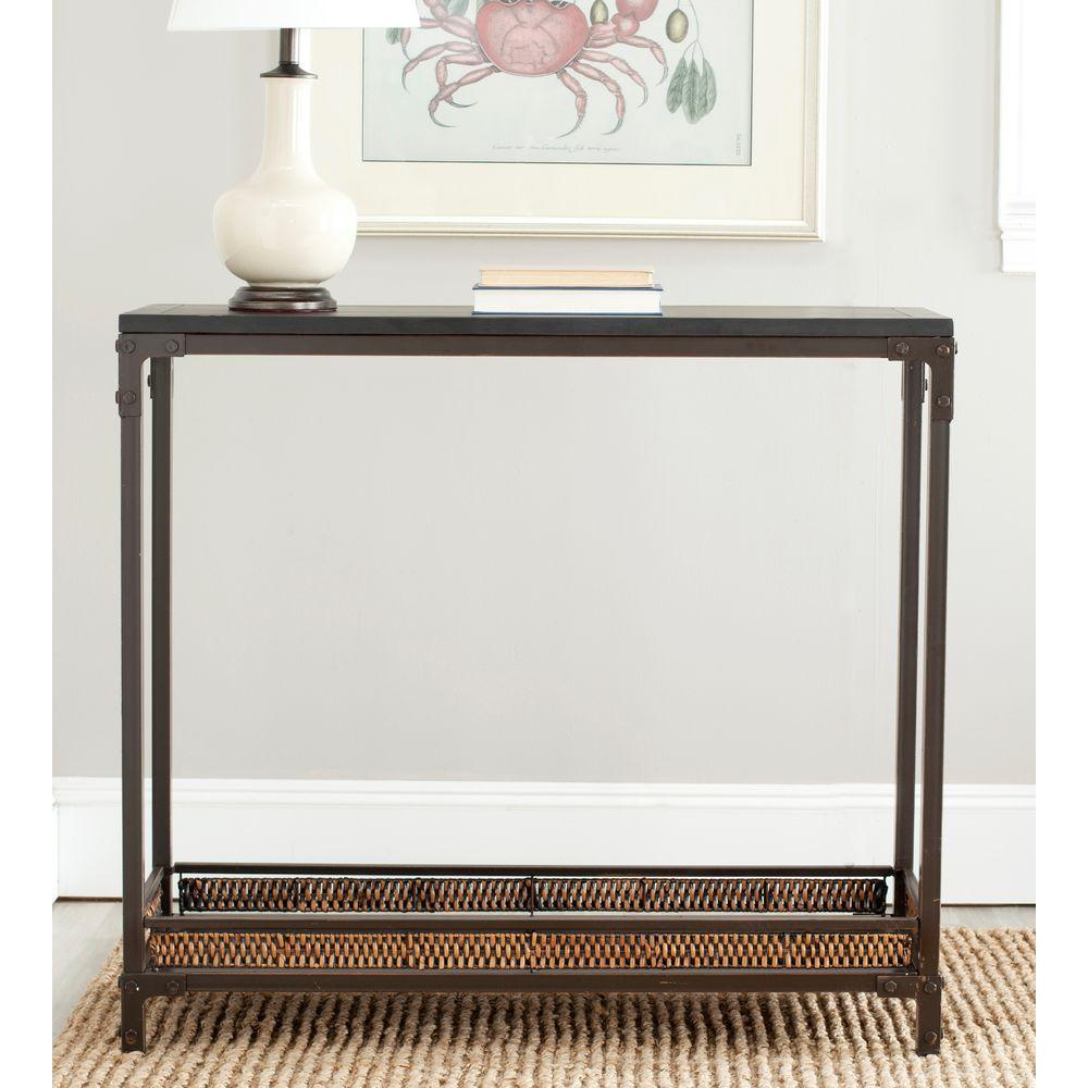 Dinesh Black and Dark Walnut Console Table
