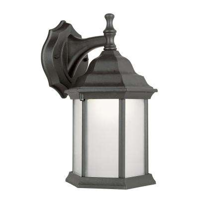 1-Light Outdoor Fluorescent Black Wall Lantern With Alabaster Glass