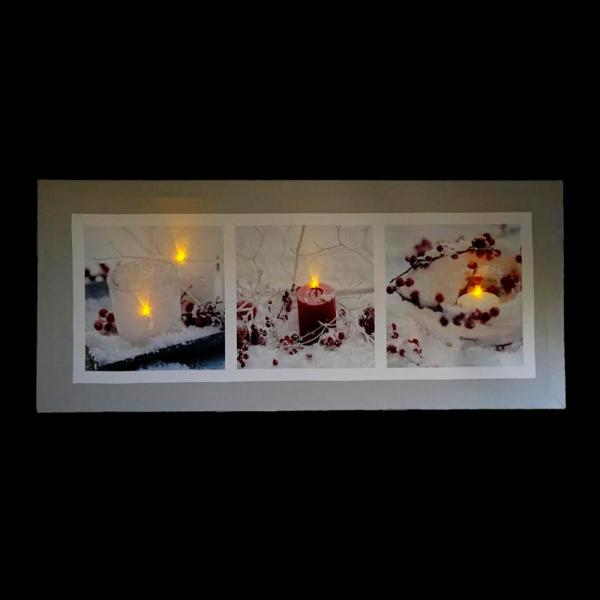11 75 in  x 27 5 in  LED Lighted Winter Frost and Berry Burst Christmas  Canvas Wall Art