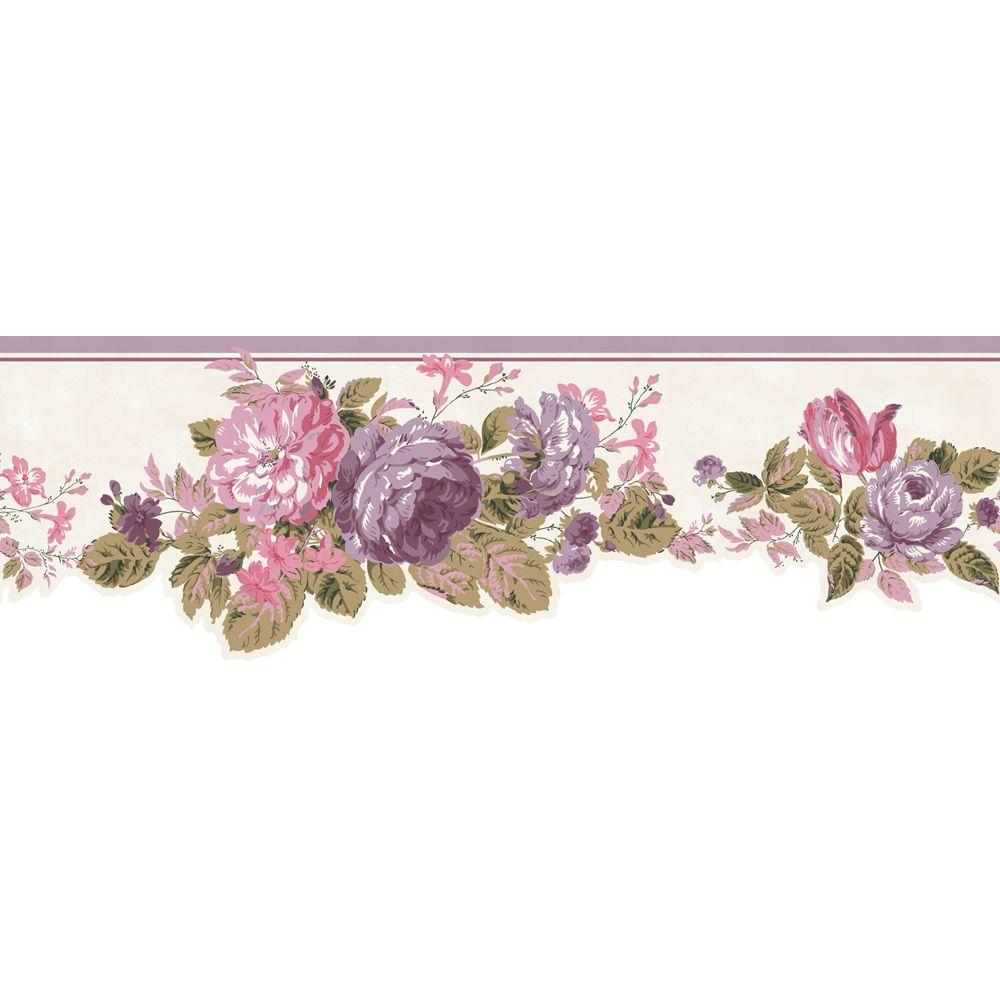 The Wallpaper Company 6.5 in. x 15 ft. Purple and Pink Pastel Cottage Rose Border