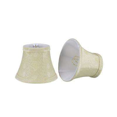 5 in. x 4 in. Butter Creme and Pumpkin Leaf Design Bell Lamp Shade (2-Pack)
