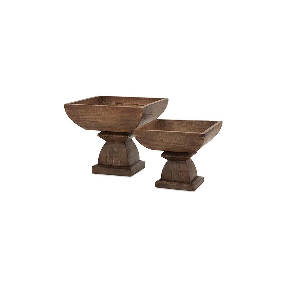 Imax petra natural wood pedestal bowl set of 2 73340 2 the home depot