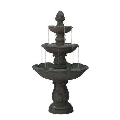 5.5 ft. Smoked Truffle Gray 3-Tier Water Fountain