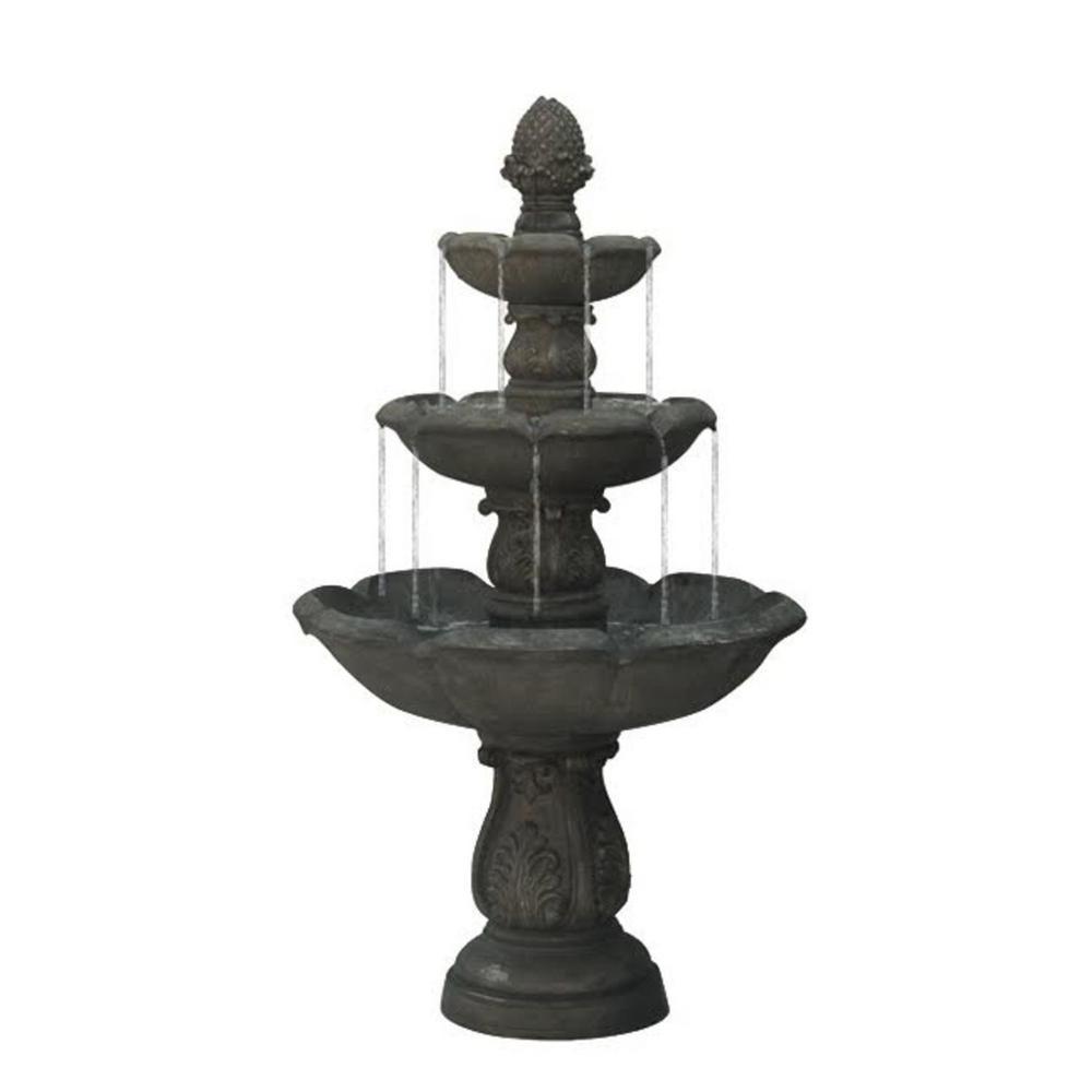 5.5 ft. Smoked Truffle Gray 3-Tier Water Fountain
