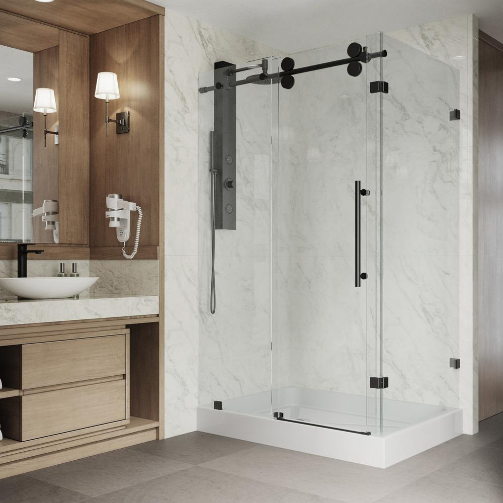 Vigo 36 In X 79 In Frameless Corner Sliding Shower Door