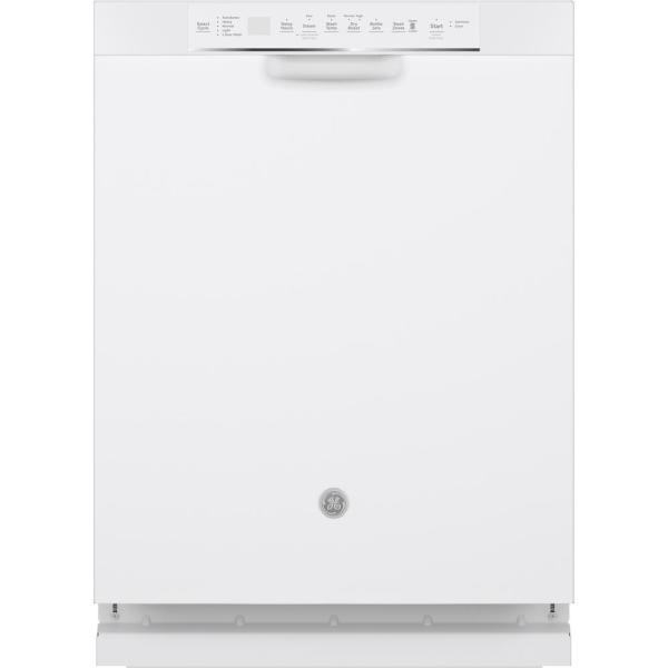 24 in. White Front Control Built-In Tall Tub Dishwasher 120-Volt with Stainless Steel Tub, Steam Cleaning, and 48 dBA