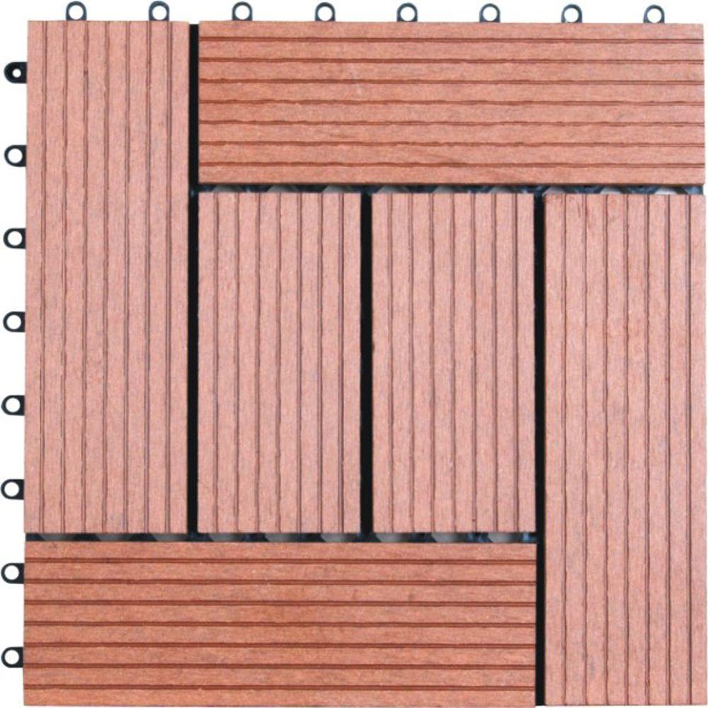 6-Slat 1 ft. x 1 ft. Composite Deck Tile in Dark Tan (11 per Case)