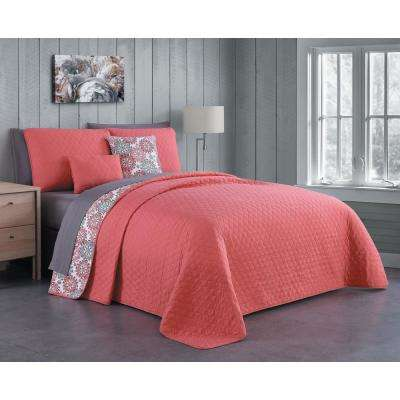 Kimber 9-Piece Coral Queen Quilt Set