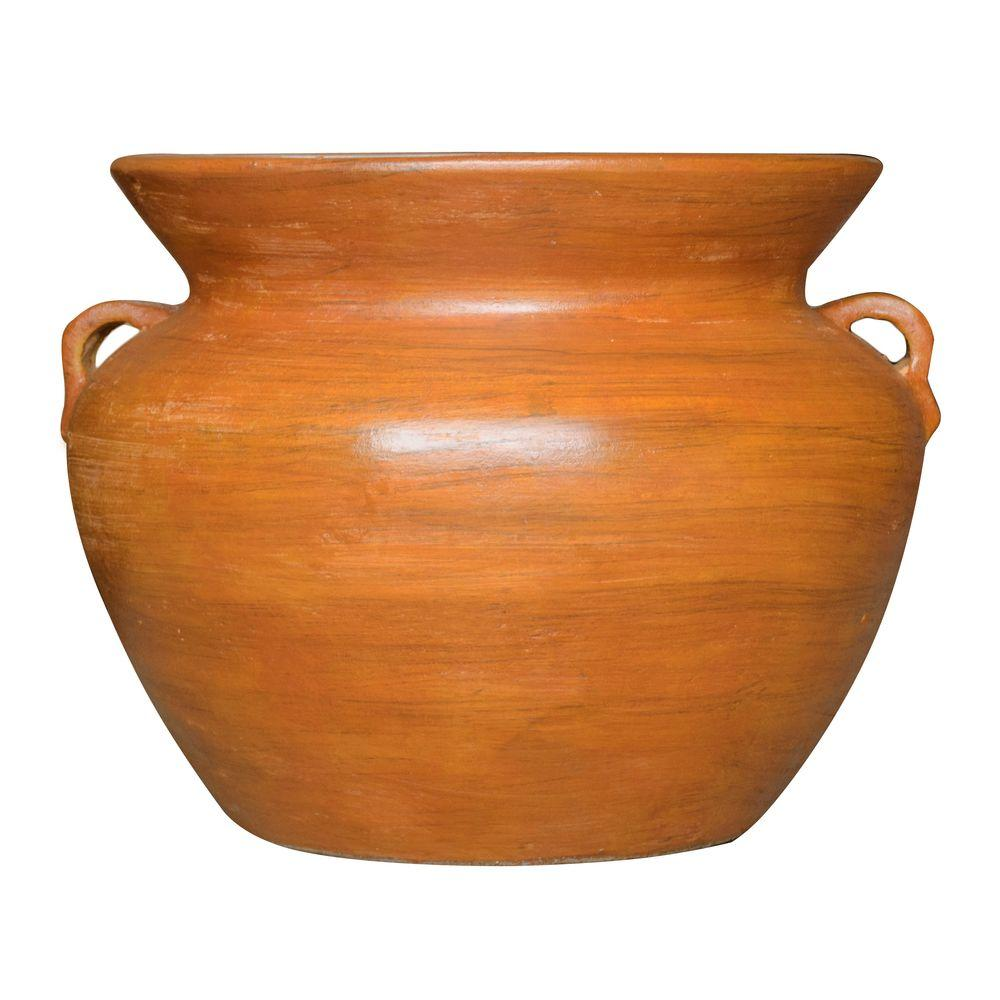 21 in. Dia Smooth Handle Terra Cotta Clay Pot